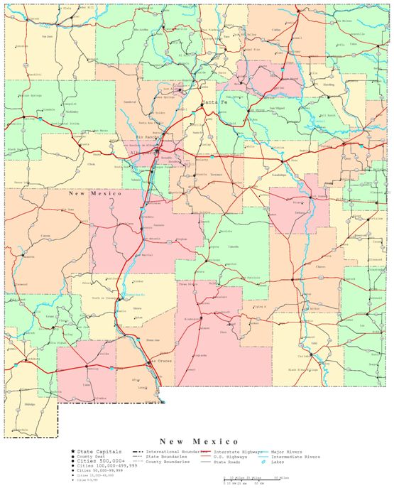 printable map of New Mexico state, NM political map