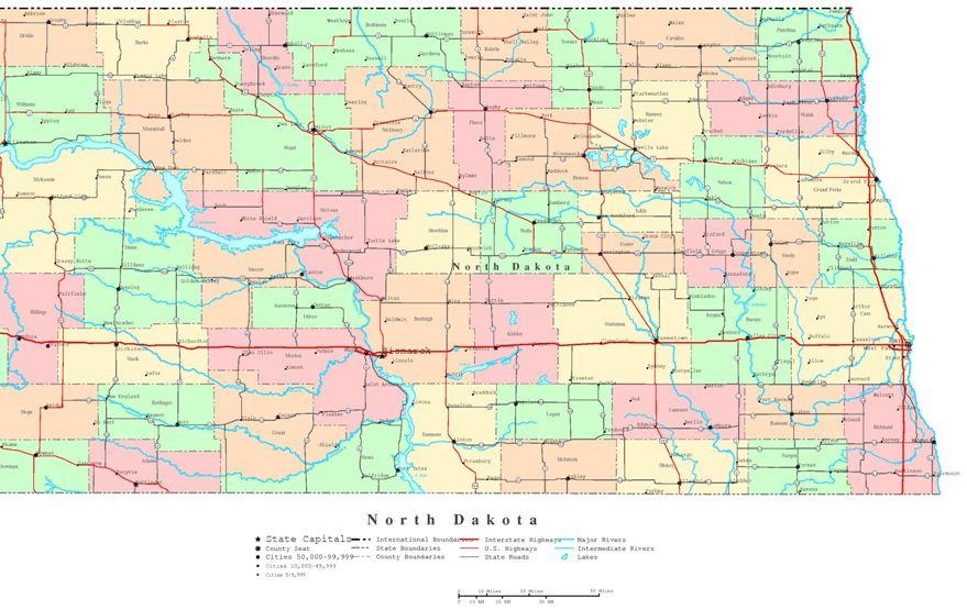 printable map of North Dakota state, ND color map