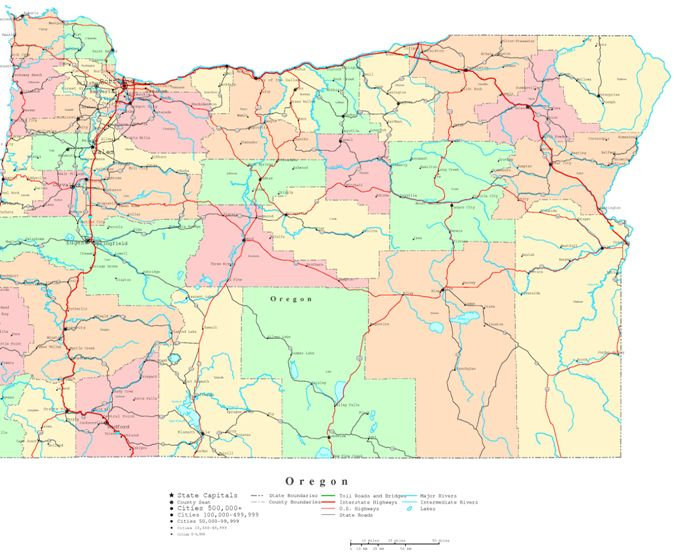 printable map of Oregon state, OR political map