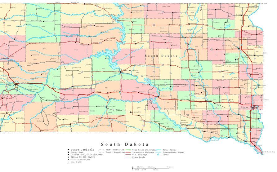 printable map of South Dakota state, SD political map