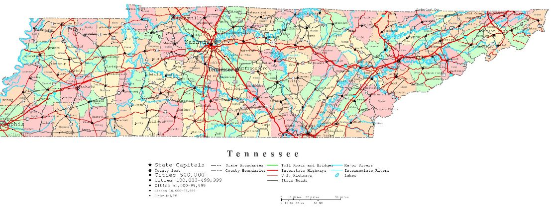 printable map of Tennessee state, TN color map