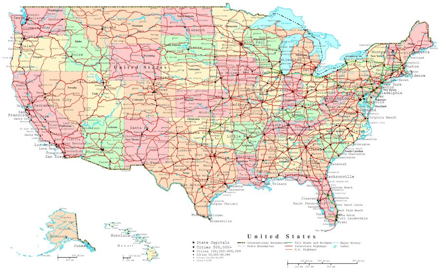 printable map of United States states, USA political map