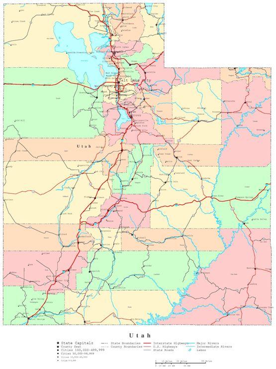 printable map of Utah state, UT color map