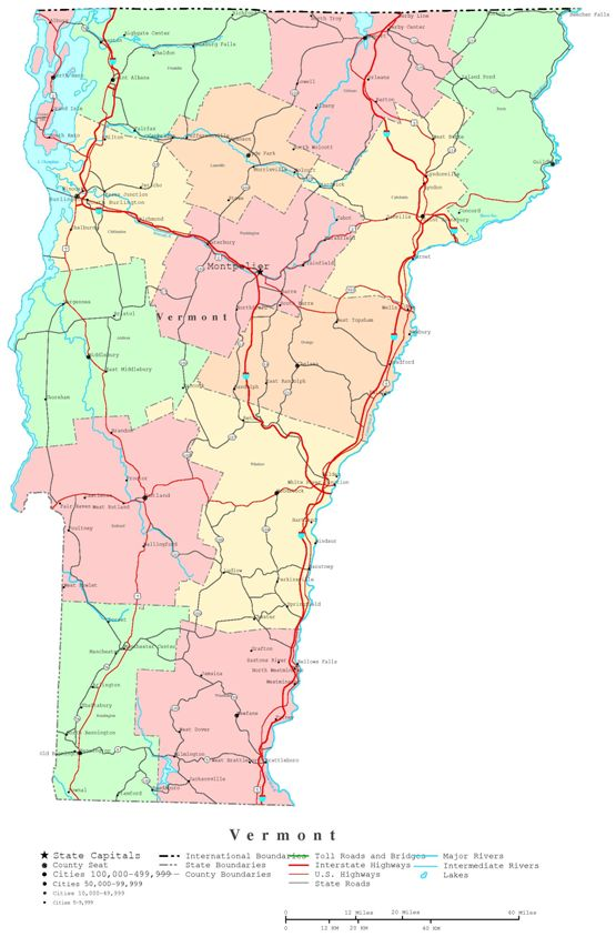 printable map of Vermont state, VT political map