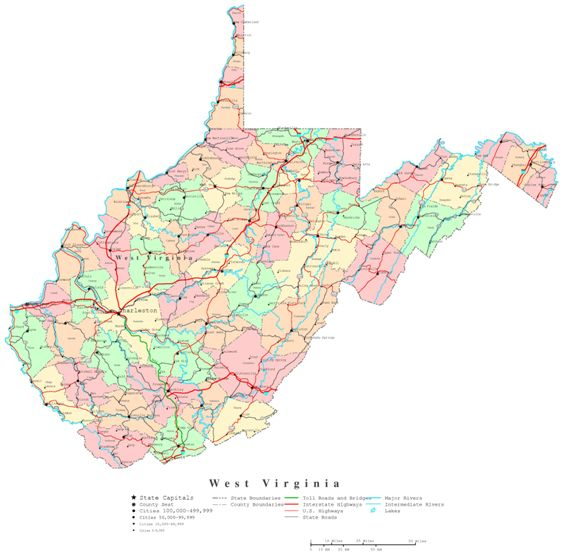 picture relating to Printable Map of Virginia named West Virginia Printable Map