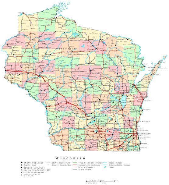 printable map of Wisconsin state, WI political map