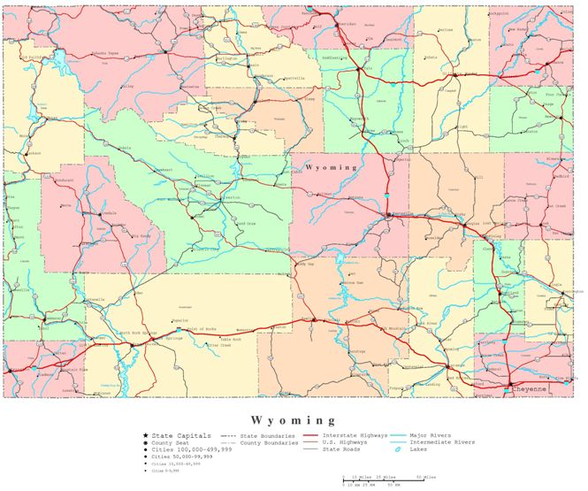 printable map of Wyoming state, WY color map