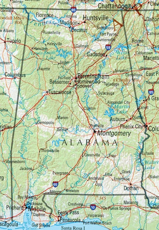 reference map of Alabama state, AL geography map