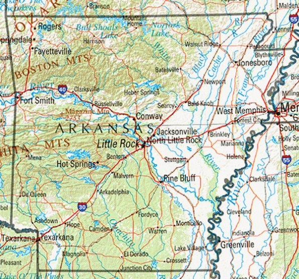 reference map of Arkansas state, AR geography map