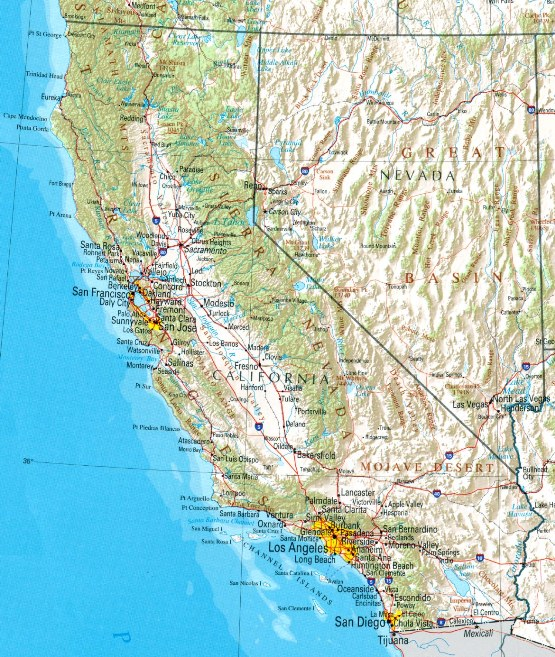 reference map of California state, CA physical map