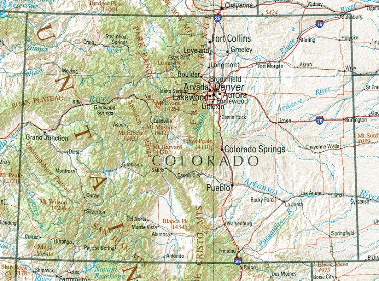 reference map of Colorado state, CO geography map