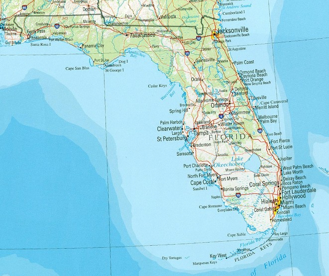 reference map of Florida state, FL physical map