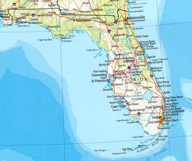 reference map of Florida state, FL geography map