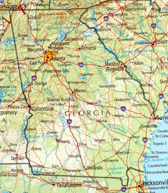 reference map of Georgia state, GA physical map