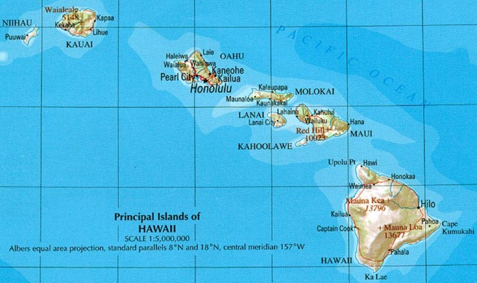 reference map of Hawaii state, HI geography map