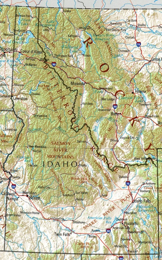 reference map of Idaho state, ID physical map