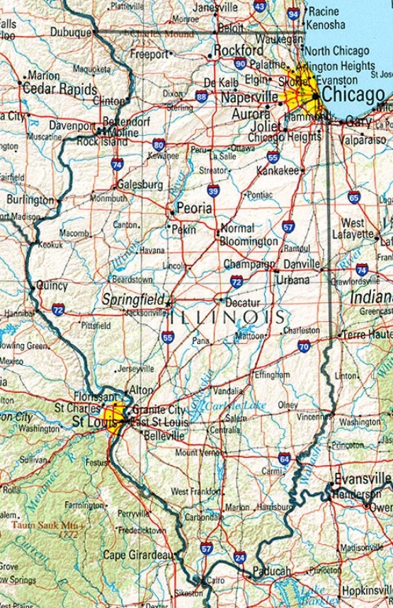 reference map of Illinois state, IL geography map