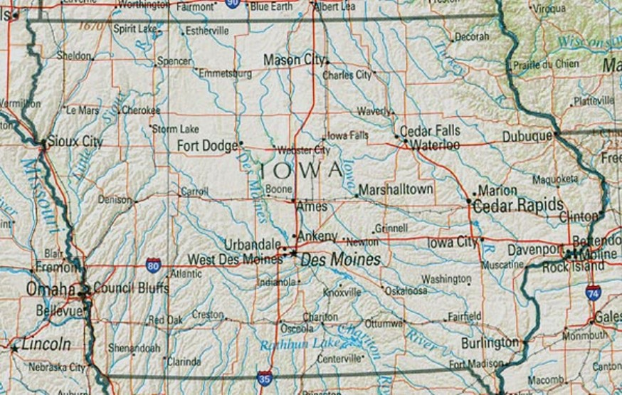 reference map of Iowa state, IA geography map