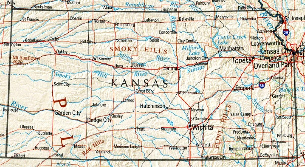 reference map of Kansas state, KS physical map