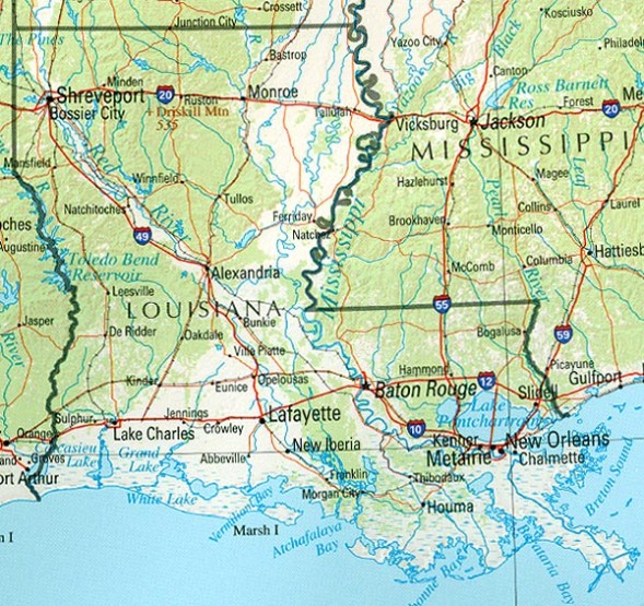 reference map of Louisiana state, LA physical map