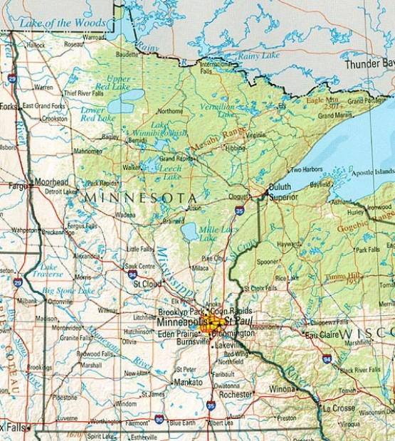 reference map of Minnesota state, MN physical map
