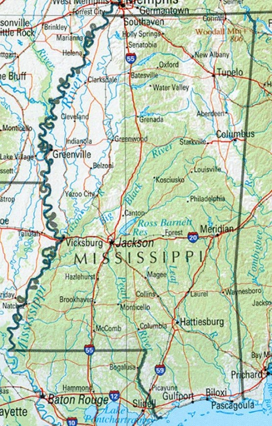 reference map of Mississippi state, MS geography map