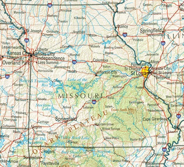 reference map of Missouri state, MO physical map