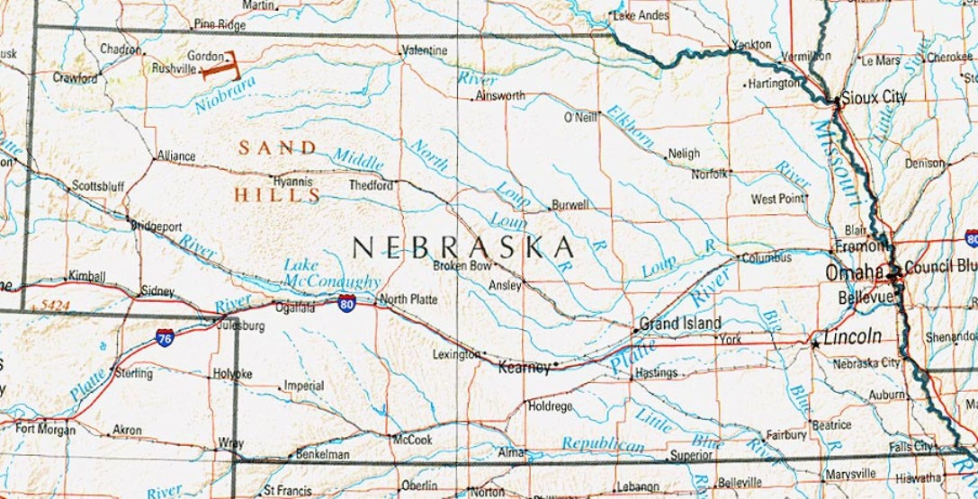 reference map of Nebraska state, NE physical map
