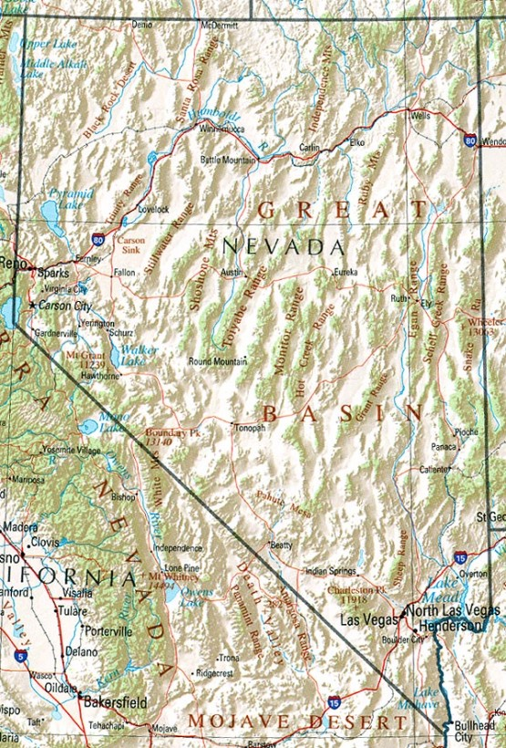 reference map of Nevada state, NV geography map