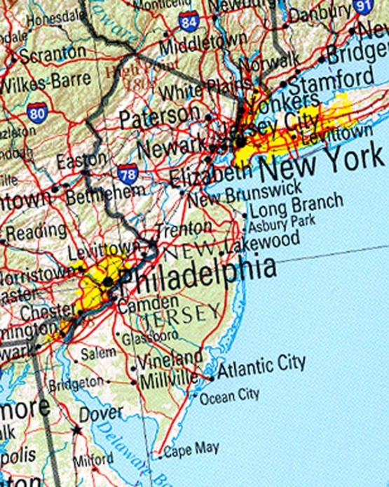 reference map of New Jersey state, NJ geography map