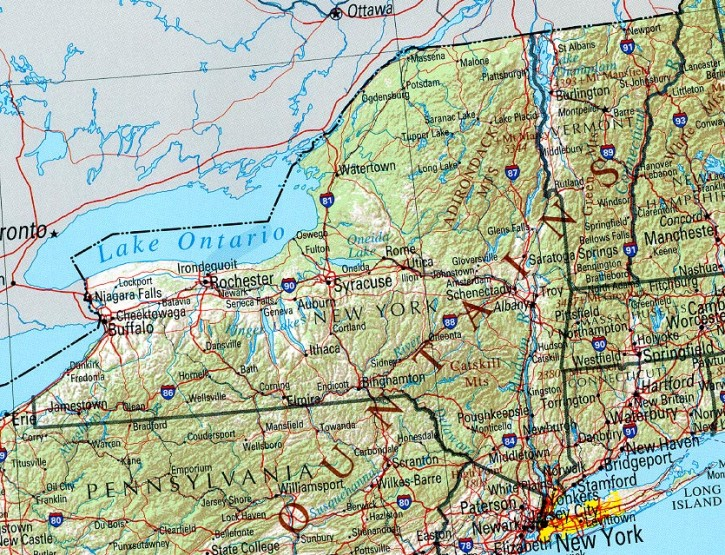 reference map of New York state, NY geography map