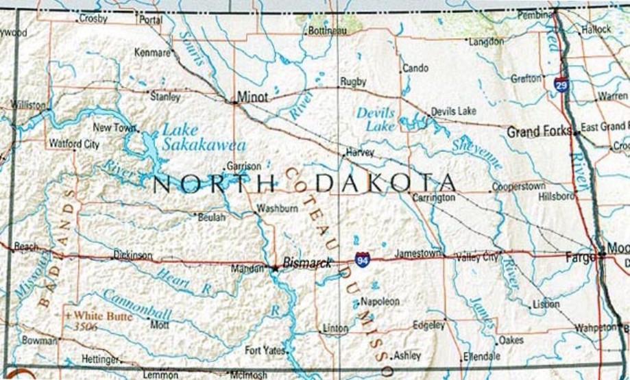 reference map of North Dakota state, ND geography map