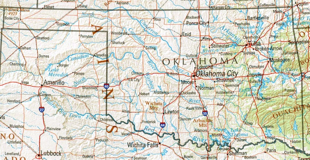 reference map of Oklahoma state, OK geography map