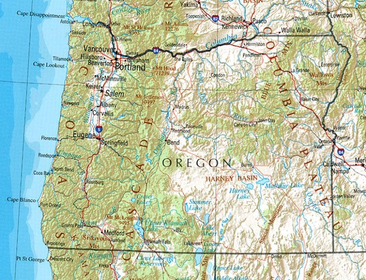 reference map of Oregon state, OR physical map