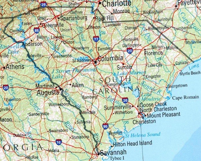 reference map of South Carolina state, SC physical map