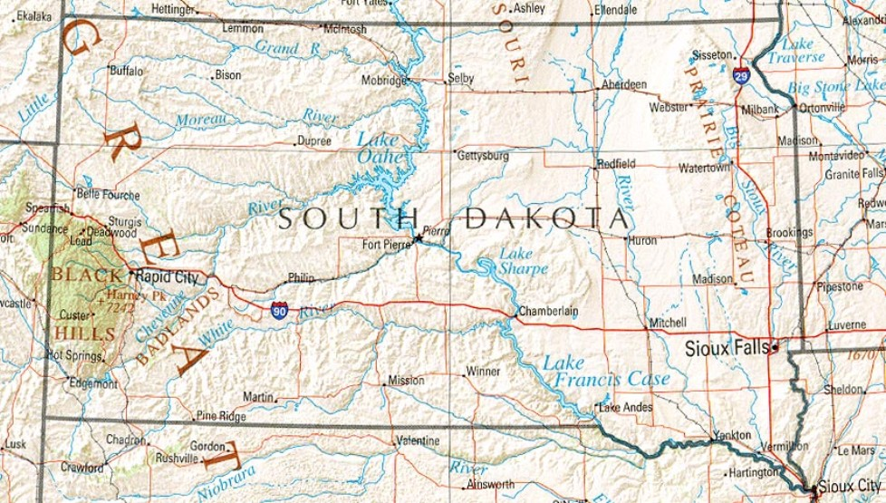 reference map of South Dakota state, SD geography map