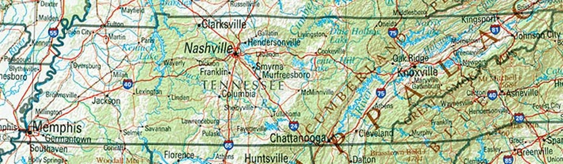 reference map of Tennessee state, TN physical map