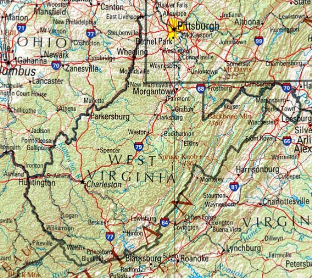 reference map of West Virginia state, WV physical map