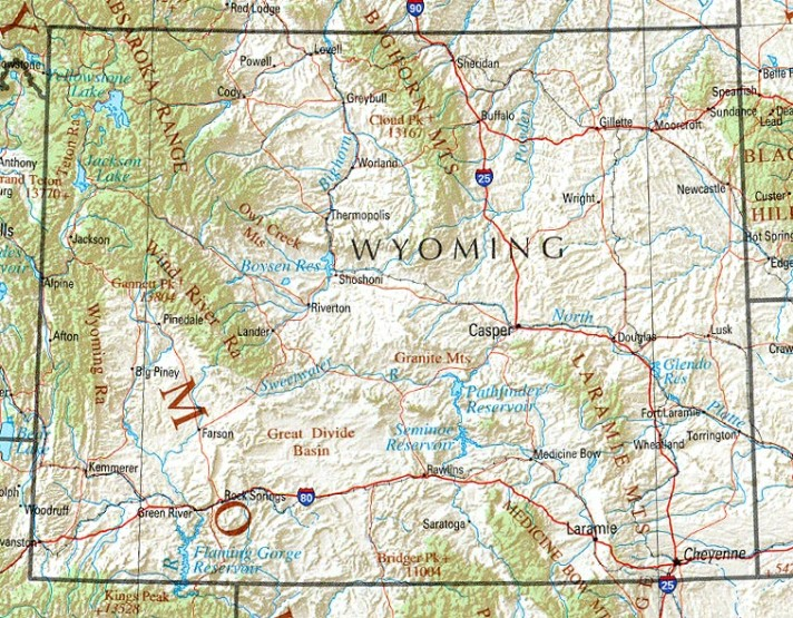 reference map of Wyoming state, WY physical map