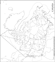 Outline Map Of Canada With Provinces And Capitals.Canada Outline Map