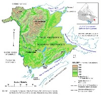 Relief elevation Map of NB Province