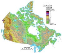 Relief elevation Map of CAN Provinces