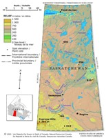 Relief elevation Map of SK Province
