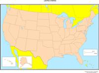 Blank outline Map of USA States