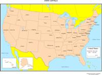 Colored labeled Map of USA States