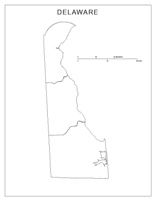 Blank county Map of DE State