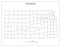 Blank county Map of KS State