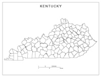 Blank county Map of KY State