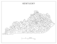 Labeled county Map of KY State