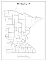 Blank county Map of MN State